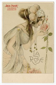 Art Nouveau Lithograph LA ROSE Gala Peter Antique postcard UNUSED from frenchkissed on Ruby Lane