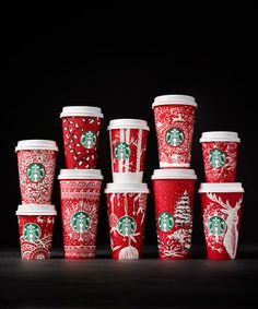 The mega coffee chain announced a new line of special red holiday cups created by customers. Starbucks Christmas Cups, Starbucks Art, Christmas Coffee, To Go Coffee Cups, Hot Coffee, Paper Cup Design, Coffee Bean Logo, Starbucks Locations, Green Cups
