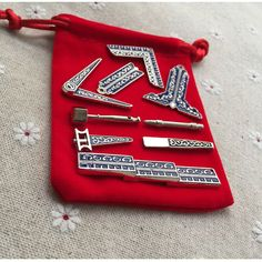 Set Of 9 Miniature Masonic Working Tools With Nickel Plating - The Perfect Masonic Gift + Cloth Bag Included