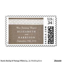 Rustic Burlap & Vintage White Lace Wedding Postage