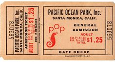 A vintage ticket from Pacific Ocean Park that was in Santa Monica California but closed in 1960's. Hagins collection.