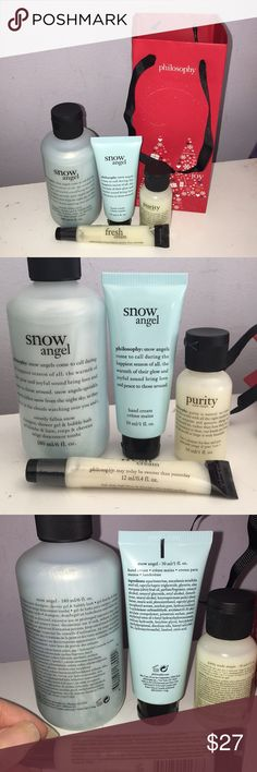 Philosophy Products Bundle With Gift Bag BRAND NEW, UNOPENED -Snow Angel Shampoo/Shower Gel/Bubble Bath -Snow Angel Hand Cream  -Purity 3 in 1 Cleanser for Face and Eyes -Fresh Cream High Gloss High Flavor Lip Shine -Philosophy gift bag in perfect condition Philosophy Other
