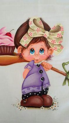 Menina cupcake Tole Painting, Fabric Painting, Cute Paintings, Color Pencil Art, Kids Boxing, Writing Paper, Cute Designs, Cute Drawings, Colored Pencils