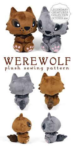 """sewdesune: """" For October I made a new plush pattern for my legendary creatures collection ♥ It seemed only fitting that it should be a Werewolf. It's got a chibi wolf look to it with lots of spiky fur on the sides of the head, the tail, and in the..."""