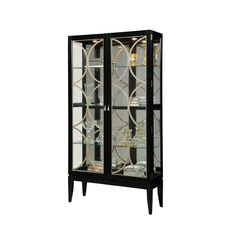 Gloss Finish Two Front Door Opening Curio Cabinet