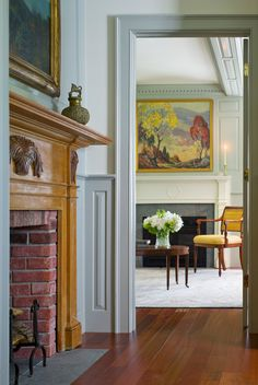 In Vermont, Connor Homes envisions a new addition to an existing farmhouse. Living Room Art, Home And Living, Connor Homes, Warm Gray Paint, Easy Paintings, Landscape Paintings, Oil Paintings, Primitive Homes, Beautiful Dining Rooms