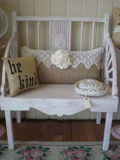 I love the lace and burlap pillow