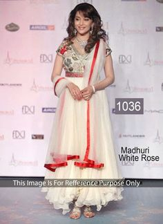 Madhuri Dixit White Georgette Party Wear Salwar Kameez With Thread embroidery, Patch, Lace, Zari, Stones Work.