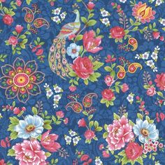 This fun paisley wallpaper creates a captivating contrast for walls with its royal blue palette and colorful adornments. Blue, green, yellow, and pink peacocks rest upon the branches of vivid pink and pastel blue flowers.