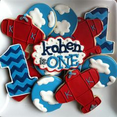 """Red, White & Blue Airplane, Cloud and Chevron """"1"""" Cookies (Kahen)"""
