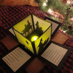 Kliknij by wyświetlić w pełnym wymiarze Diy Nativity, Christmas Nativity Scene, Christmas Makes, Pop Up Cards, Xmas Cards, Diy Cards, Box Cards Tutorial, Card Tutorials, Exploding Gift Box