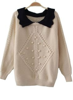 White Lapel Long Sleeve Balls Embellished Sweater (sheinside ordering tip: orders take about a month to come in, and you should email customer service with order number 1 or 2 times to remind about order)