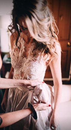 Beautiful illusion lace bodice with full raw silk skirt by Gabi Rosenwerth - South African haute couture wedding dress designer. #wedding #weddingdress View more:https://www.facebook.com/BoutiqueBridalConcepts/