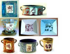 ceramics with fired laser print decal images