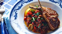 Caponata agrodolce with grilled lamb recipe : SBS Food Sweet Meat Recipe, Tasty Bread Recipe, Sweet Recipes, Bread Recipes, White Fish Recipes, Sbs Food, Grilled Lamb, Lamb Dishes, Slaw Recipes