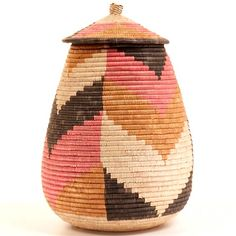 Zulu Ilala Palm Basket.  I think this could be reproduced with a hobby lobby basket and some paint.