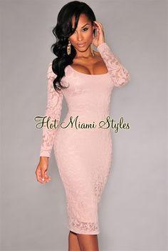 Blush Lace Long Sleeves Back Vent Midi Dress