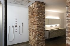 Interior, Cool Loft with Old and Modern Design: Exposed Brick Bathroom Scheme House Design, Beautiful Bathroom Designs, Industrial Interior Design, Remodel, Modern House, Exposed Brick Walls, Industrial Interiors, Brick Bathroom, Bathroom Design