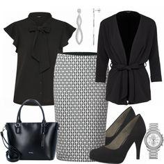 Businesslook im Klassischen Stil: Schwarze Bluse, Bleistiftrock und schwarzem Pumps... #fashion #fashionista #mode #damenmode #frauenmode #damenkleidung #frauenkleidung #kleidung #trend #trend2018 #frühling #modetrend
