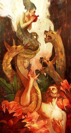Hadès enleva Perséphone de la surface terrestre pour en faire son épouse. Déméter la mère de la jeune fille décida d'arrêter de rendre la terre fertile. Zeus décida d'intervenir et demanda à Hermès d'aller aux Enfers pour ramener Perséphone. Celui ci accepta à une condition : Perséphone ne devait pas avoir consommé de nourriture souterraine. Or, elle avait mangé des grains de grenade. Sur un accord, Perséphone devait rester 6 mois sur terre et  6 mois sous terre. (Formation des saisons)