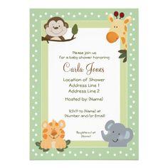 Jungle Safari Green 5x7 Baby Shower Invitations