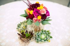succulents and fall flower table arrangement. Designed by Brette Start