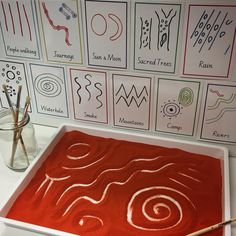 Exploring examples of Aboriginal symbols used in many forms of art. The aim of this activity is to explore and appreciate the rich beauty… Aboriginal Art Symbols, Aboriginal Art For Kids, Aboriginal Education, Indigenous Education, Aboriginal Artwork, Aboriginal Culture, Indigenous Art, Aboriginal Tattoo, Aboriginal People