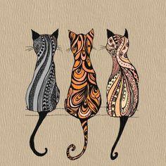 Tangle Art, Cat Quilt, Cat Drawing, Fabric Art, Crazy Cats, Doodle Art, Cat Art, Altered Art, Cats And Kittens