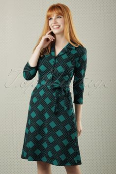 King Louie - 60s Bibi Victory Dress in Green
