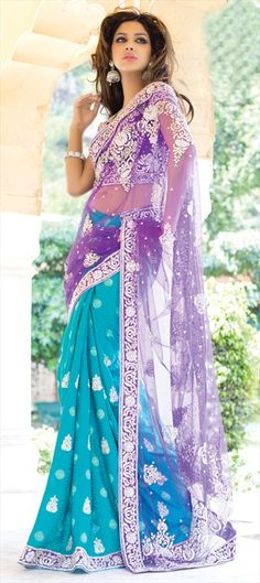106993 Party Wear Sarees Embroidered Sarees Bridal Wedding Sarees Jacquard Net Zari Stone Blue Pink and Majenta Color Family Indian Attire, Indian Wear, India Fashion, Asian Fashion, Indian Dresses, Indian Outfits, Beautiful Saree, Beautiful Dresses, Collection Eid