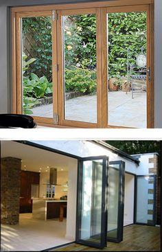 Timber & Aluminium bifold doors Timber Windows, Timber Door, Wood Doors, Windows And Doors, Sliding French Doors, Sliding Door, Double Doors, Warehouse Project, Bedroom Doors