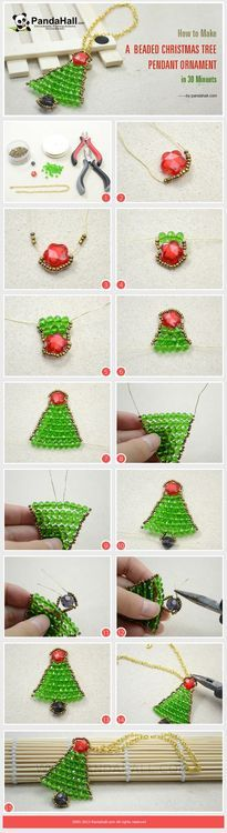 Jewelry Making Tutorial-How to Make a Beaded Christmas Tree Pendant Ornament in 30 Minutes | PandaHall Beads Jewelry Blog