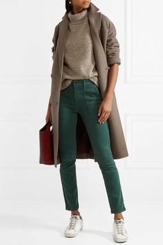 The Great - The Skinny Armies Brushed-twill Pants - Dark green