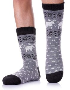 75f151875e5 LANLEO Men s Fuzzy Ripple Slipper Socks Super Soft Warm Fleece Lining Knit  Non Slip Winter Socks