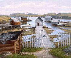 Beautiful Newfoundland artwork captured by artist Ted Stuckless Newfoundland Canada, Newfoundland And Labrador, O Canada, Canada Travel, Fishing Shack, Permanent Vacation, Atlantic Canada, Island Tour, Beautiful Landscapes
