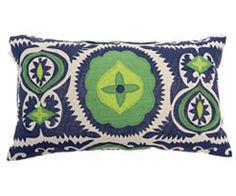 green/blue suzani pillow