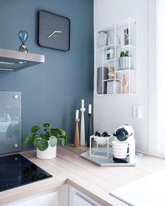 Coffee Corner Kitchen, Coffee Bar Home, Coffee Art, Apartment Interior, Kitchen Interior, Kitchen Decor, St Pauls Blue, By Lassen, Interior Decorating