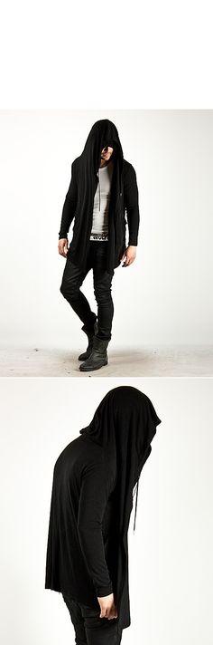 Unleash you diabolical side with this big hood drape cardigan