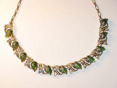 Vintage Signed Star Lucite AB Rhinestone Leaf Necklace N-1-1