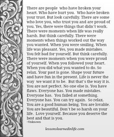 Lessons Learned in Life | Words for the wise.