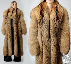 vintage TANUKI Fur feather Maxi Coat 70s shaggy by TinRoofVintage, $525.00