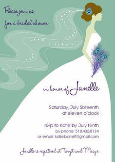 Peacock Bridal Shower InvitationCustom Die Cut Dress Shower