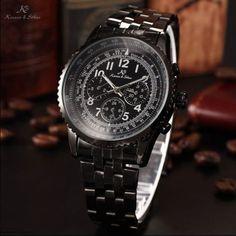 KS Fashion Aviator Automatic Mechanical Date Day 24 Hours Steel Mens Sport Watch