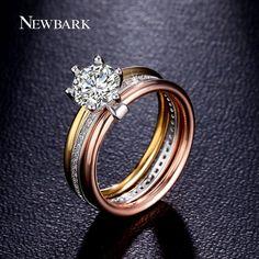 Brand Wedding Rings Three Round Jewelry Ring Luxury 7mm 1.25ct CZ Diamond