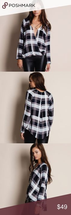 "Cross Front Plaid Top Cross front long sleeve plaid top. Available in black and plum. This listing is for the BLACK. This is an ACTUAL PIC of the item - all photography done personally by me. Model is 5'9"", 32""-24""-36"" wearing the size small. NO TRADES DO NOT BOTHER ASKING. Bare Anthology Tops Blouses"