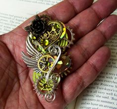 Steampunk Pin P400  Valentine Hearts  Wings by DesignsByFriston, $35.00