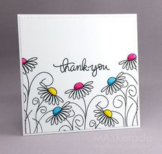 This week's Splitcoaststampers Featured Stamper is amymay998. Her gallery is full of fun, clever projects and I chose this one as my inspiration:  I focsued on Amy's: -outline floral images with colou