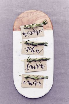 DIY Place Card Idea - Rustic with Rosemary (http://BridesMagazine.co.uk)