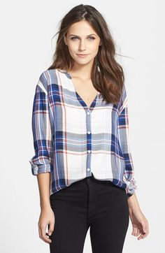 blue, red and white collarless plaid shirt
