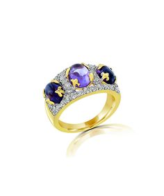 Look at this Juinsix Amethyst Cabochon & White Topaz Trio Ring on #zulily today!